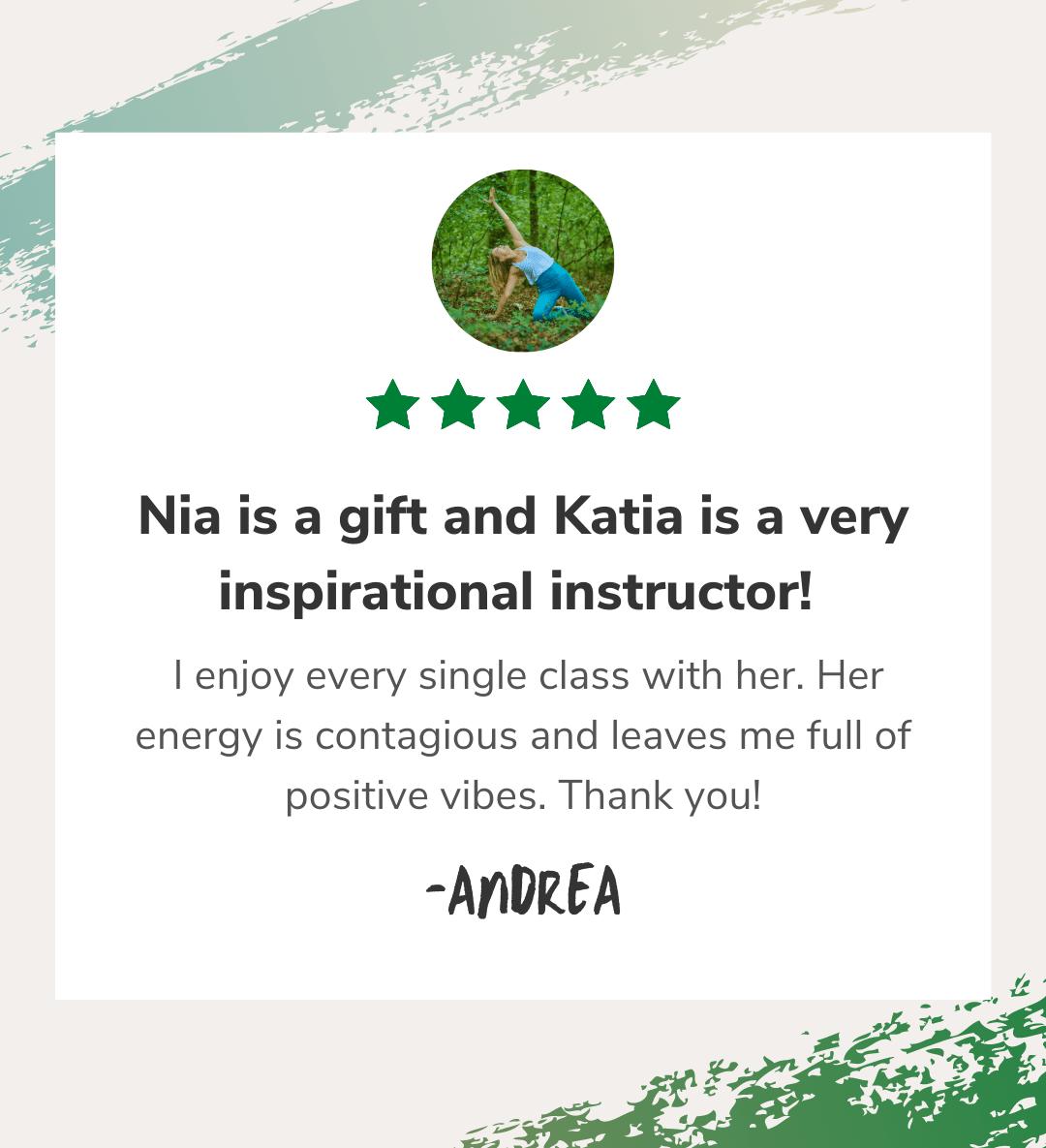 Nia and Yoga with Katia client testimonial